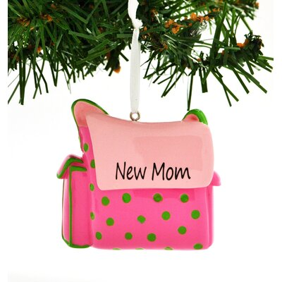 Personalized Christmas Ornament New Mom Diaper Bag Hanging Figurine POLARX-OR7+99-PNK