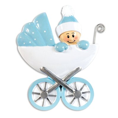 Baby's First Baby In Carrage Shaped Ornament POLARX-OR8-96-B