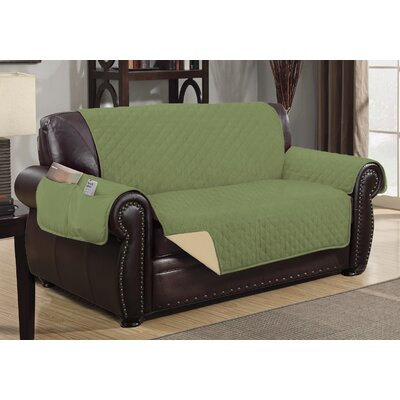 Deluxe Hotel Box Cushion Loveseat Slipcover Color: Sage/Ivory