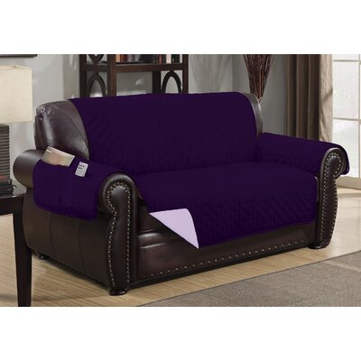 Deluxe Hotel Box Cushion Loveseat Slipcover Color: Purple/Light Purple