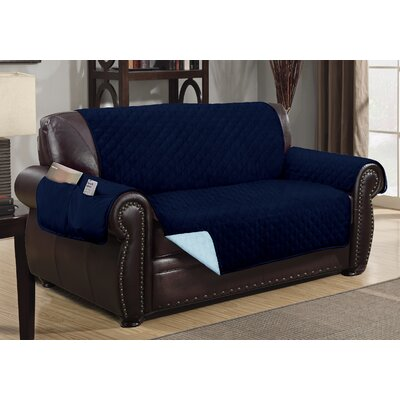 Deluxe Hotel Box Cushion Loveseat Slipcover Color: Navy/Light Blue