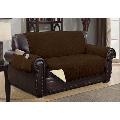 Deluxe Hotel Box Cushion Loveseat Slipcover Color: Chocolate/Beige