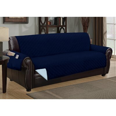Deluxe Hotel Box Cushion Sofa Slipcover Color: Navy/Light Blue