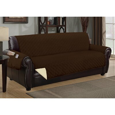 Deluxe Hotel Box Cushion Sofa Slipcover Color: Chocolate/Beige