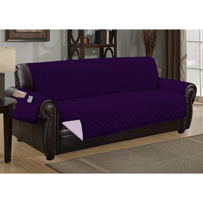 Deluxe Hotel Box Cushion Sofa Slipcover Color: Purple/Light Purple