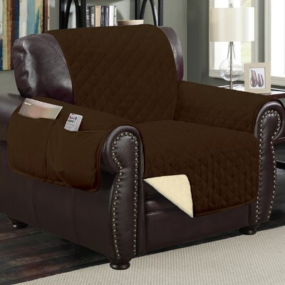 Deluxe Hotel Box Cushion Armchair Slipcover Color: Chocolate/Beige