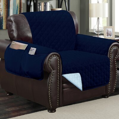 Deluxe Hotel Box Cushion Armchair Slipcover Color: Navy Blue/Light Blue