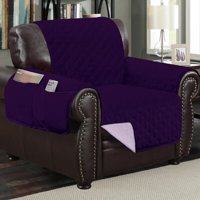 Deluxe Hotel Box Cushion Armchair Slipcover Color: Purple/Light Purple