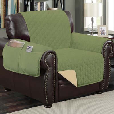 Deluxe Hotel Box Cushion Armchair Slipcover Color: Sage/Ivory