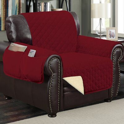 Deluxe Hotel Box Cushion Armchair Slipcover Color: Wine/Taupe