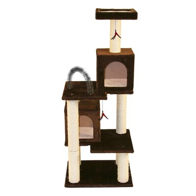 58 Multi-tier Play Tower Cat Tree Color: Brown