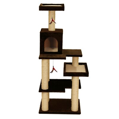58 Multi Leveled Playground Cat Tree Color: Brown