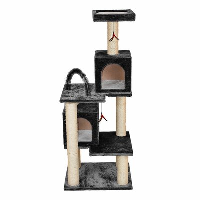"""58"""" Multi-tier Play Tower Cat Tree Color: Gray"""