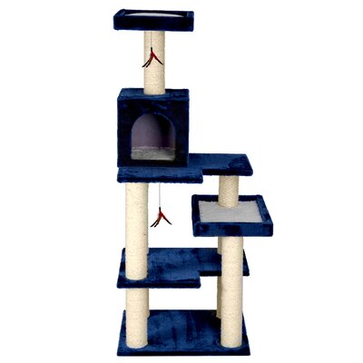 58 Multi Leveled Playground Cat Tree Color: Blue