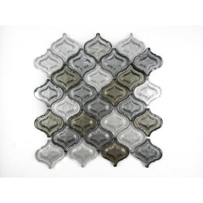 Lantern Glass Mosaic Tile in Silver Gray