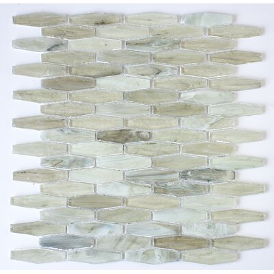 Esagono 0.75 x 2.75 Glass Mosaic Tile in Light Green/Gray
