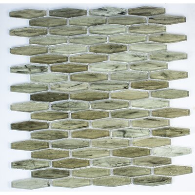 Esagono 0.75 x 2.75 Glass Mosaic Tile in Dark Green