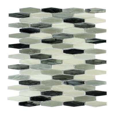 Esagono Contrasto 0.75 x 2.75 Glass Mosaic Tile in Black/Gray