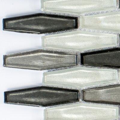 Esagono Di Fronte 0.75 x 2.75 Glass Mosaic Tile in Black/Gray