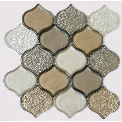 Peach Glass Mosaic Tile in Champagne