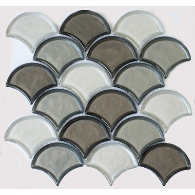 Fan Glass Mosaic Tile in Silver Gray