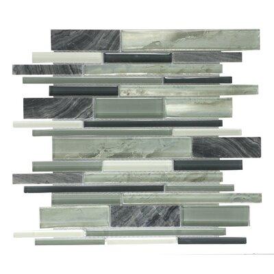 1 x 8 Mosaic Tile in White/Light Gray