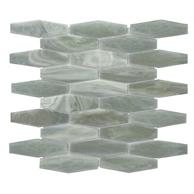 Esagono 1.5 x 4.75 Glass Mosaic Tile in Jade Gray