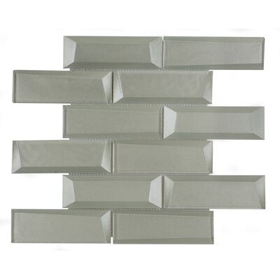 2 x 6 Glass Mosaic Tile in Sliver Gray