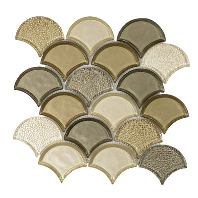 Fan Glass Mosaic Tile in Champagne