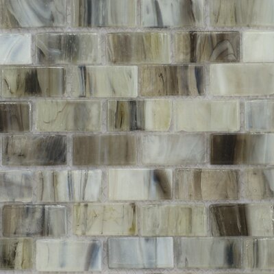 Acuto 12.28 x 12.99 Glass Mosaic Tile in Green/Gray