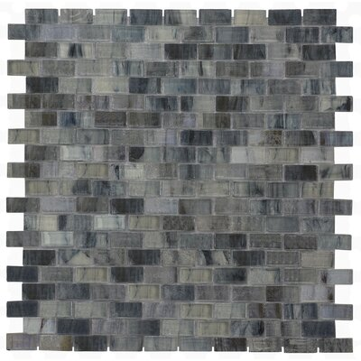 Versa 12.28 x 12.99 Glass Mosaic Tile in Dark Blue