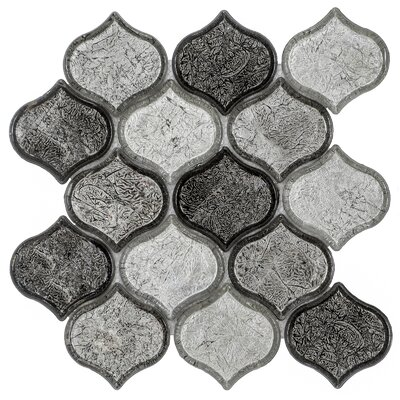 Peach 9.76 x 10.12 Glass Mosaic Tile in Grayscale