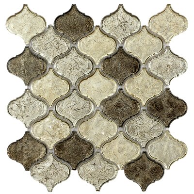 Mini Lantern 11.81 x 12.2 Glass Mosaic Tile in Champagne