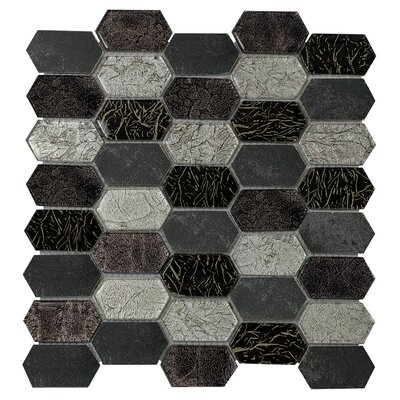 Distinto in Mix 11.61 x 12 Mosaic Tile in Black/Silver