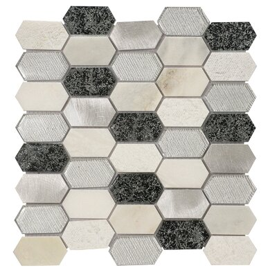 Distinto in Cloud 11.61 x 12 Mosaic Tile in White/Silver