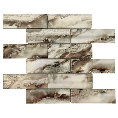 Multi-Tone 2 x 6 Glass Subway Tile in Silver/Gold Vein
