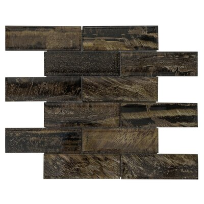 2 x 6 Glass Subway Tile in Amber Vein