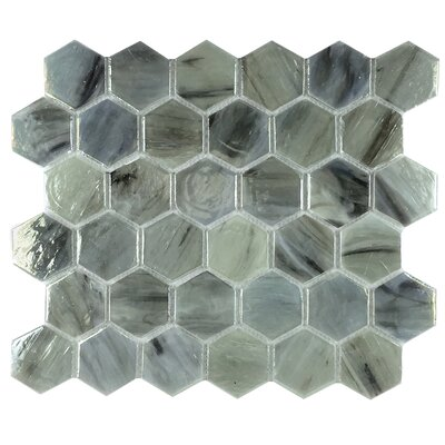 Esagono Laguna 1.85 x 2 Glass Mosaic Tile in Greenish Blue