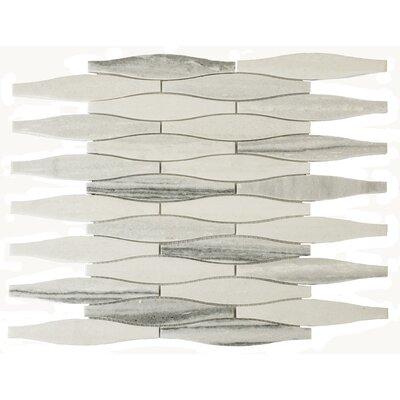 Mid Century 1 x 2.4 Marble Mosaic Tile in White/Light Gray