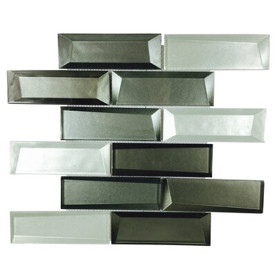 Galaxy Mix 2 x 6 Glass Mosaic Tile in Silver Gray/Graphite