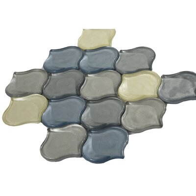 Glass Mosaic Tile in Blue/Yellow/Gray