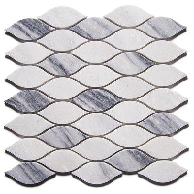 Ashimia Leaf 2 x 4 Marble Mosaic Tile in Gray/White
