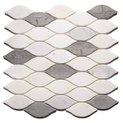 Pucho Leaf 2 x 4 Marble Mosaic Tile in Gray/White