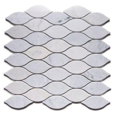 La Paz Modern Tear Drop 2 x 4 Marble Mosaic Tile in White