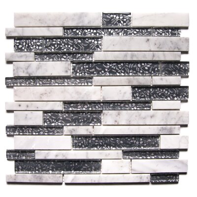 Modern Charcoal Fabrica Random Sized Mixed Mosaic Tile White/Dark Gray