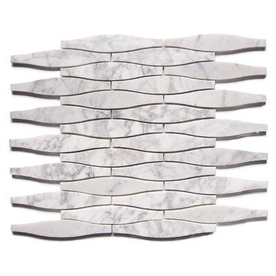 Uyuni Modern 1 x 5 Engineered Stone Mosaic Tile in White/Gray