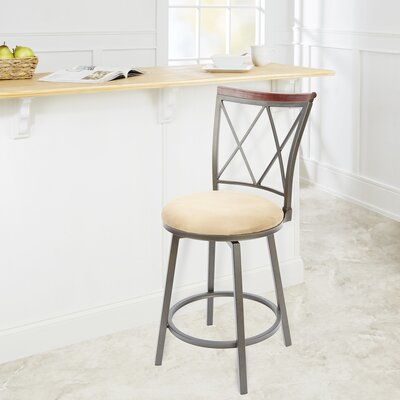 Valleyview 24 Swivel Bar Stool Upholstery: Tan