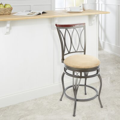 Vickery 24 Swivel Bar Stool Upholstery: Tan