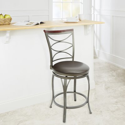 Verndale 24 Swivel Bar Stool Upholstery: Espresso