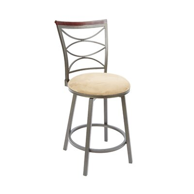 Vernon 24 Swivel Bar Stool Upholstery: Tan